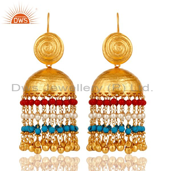 18K Gold Plated Matte Finish Traditional Pearl Coral Turquoise Jhumki Earring