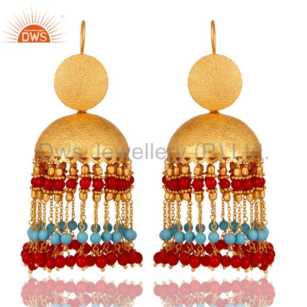 Cultured Coral and Turquoise 18K Gold Plated Jhumka Earring