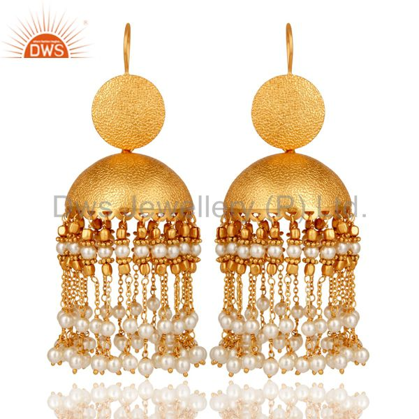 White Pearl 18K Gold Plated Jhumka Earring