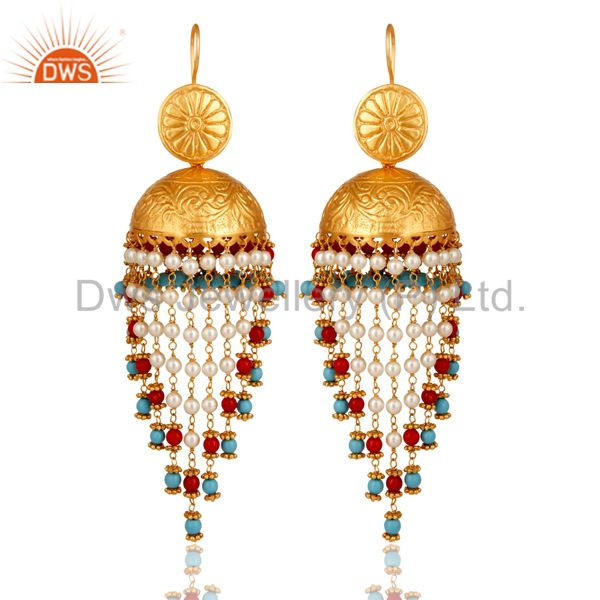 18K Gold Plated Coral Cultured Pearl and Turquoise Cultured Jhumki Earring
