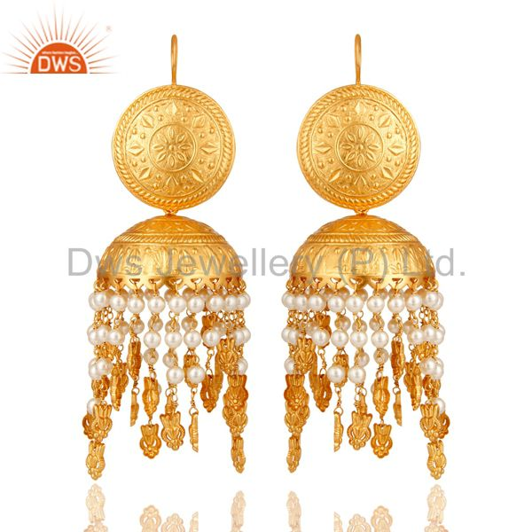 18K Gold Plated White Pearl Beaded Jhumki Earring Fashion Jewelry