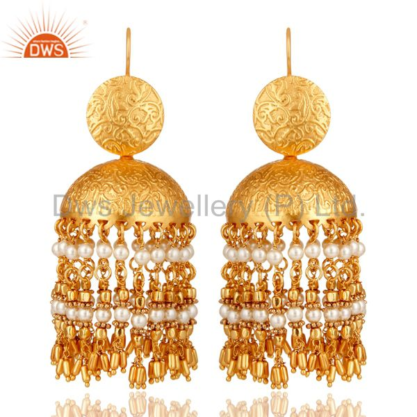 18K Gold Plated Pearl Beaded Jhumki Earring Fashion Jewelry
