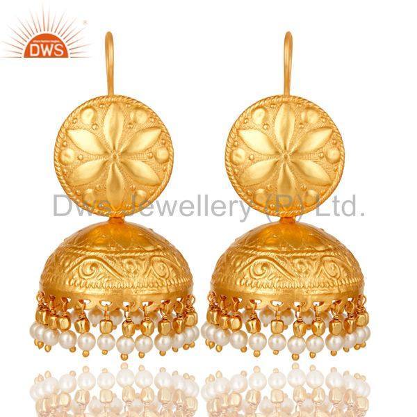 18K Gold Plated Pearl Traditional Jhumki Earring Indian Jhuka