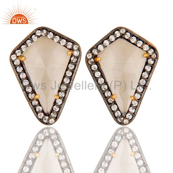 White Moonstone and White Zircon 18K gold Plated Handmade Stud Boutique Jewelry
