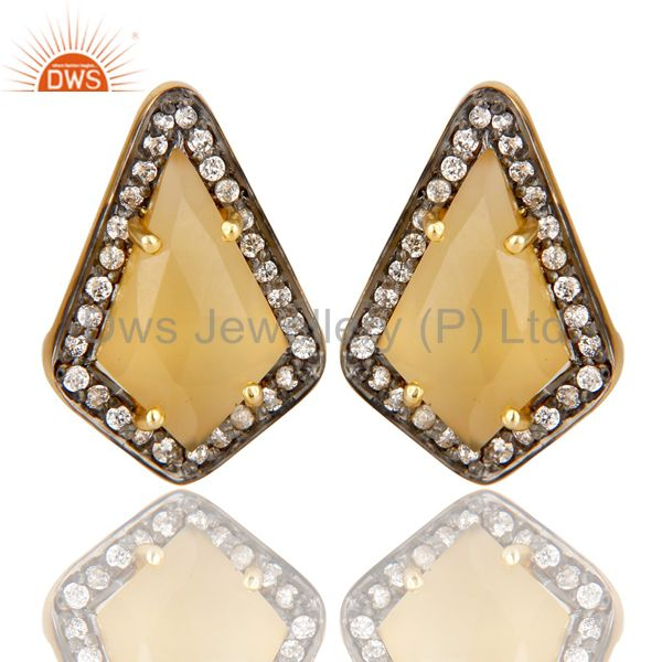 14K Gold Plated Handmade Dyed Chalcedony & CZ Prong Set Studs Brass Earrings