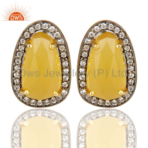 14K Gold Plated Handmade Yellow Chalcedony & CZ Prong Set Studs Brass Earrings
