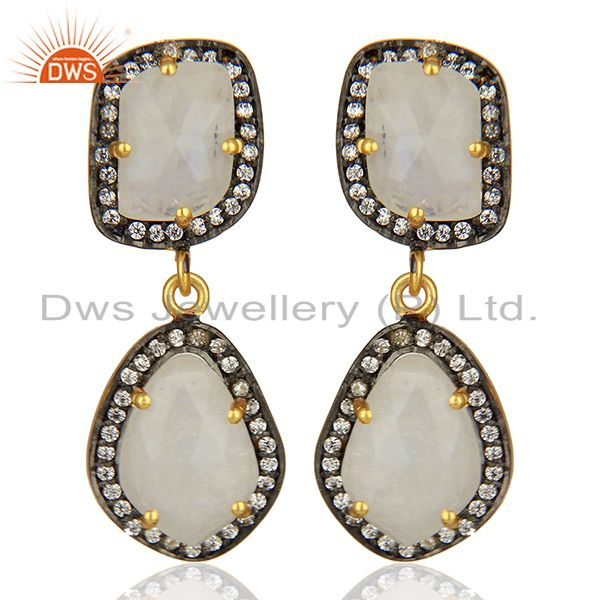 Rainbow Moonstone and Cz Gemstone Brass Earrings Manufacturer