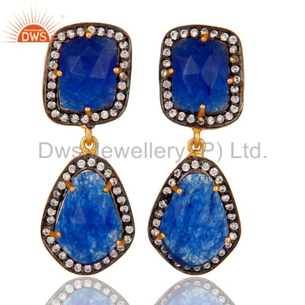 Blue AVenturine and White Zircon 18K Gold Plated Drop Dangler Earring Stud