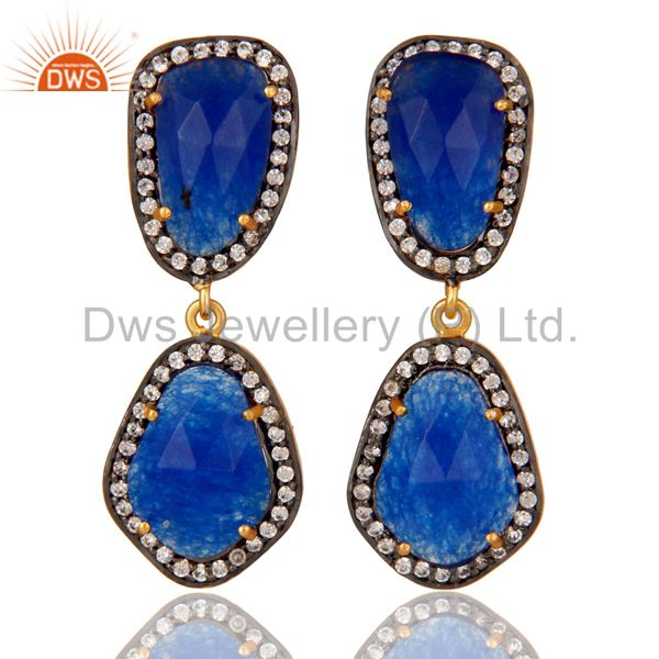 Natural Blue Aventurine and White CZ 18K Gold Plated Drop Dangle Earring Stud