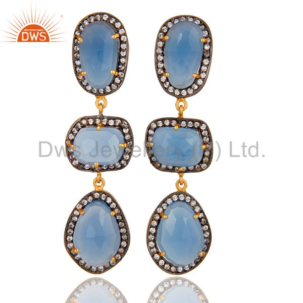 Natural Chalcedony and White CZ 18K Gold Plated Drop Dangle Earring Stud