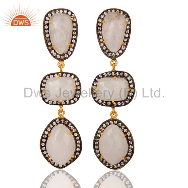 Natural Moonstone and White CZ 18K Gold Plated Drop Dangle Earring Stud