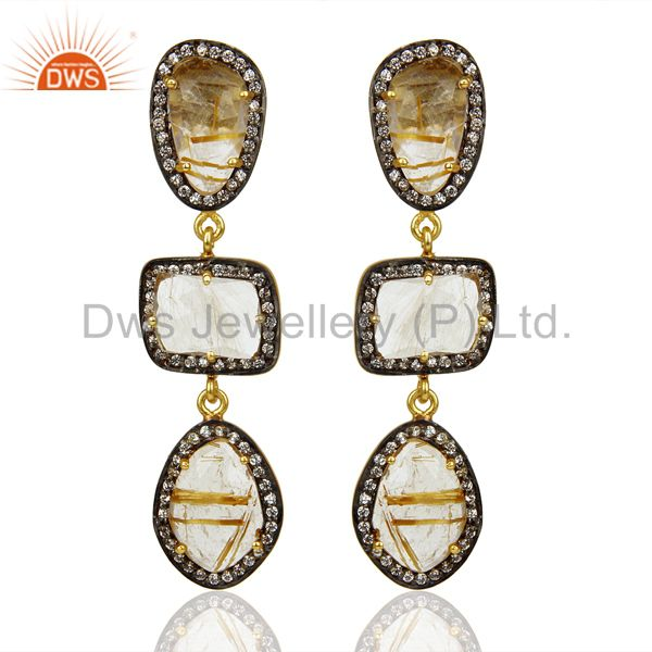 Handmade Golden Routile Quartz White Zircon Dangle Brass Gift Earrings Jewelry