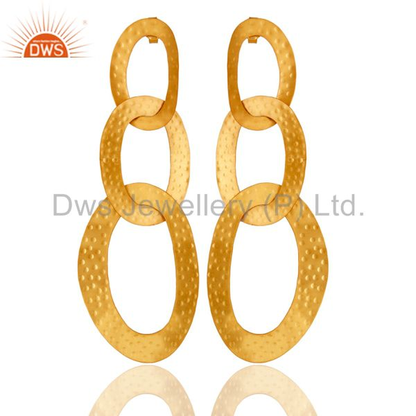18k Gold Plated Traditional Chain Design Brass Dangle Earrings