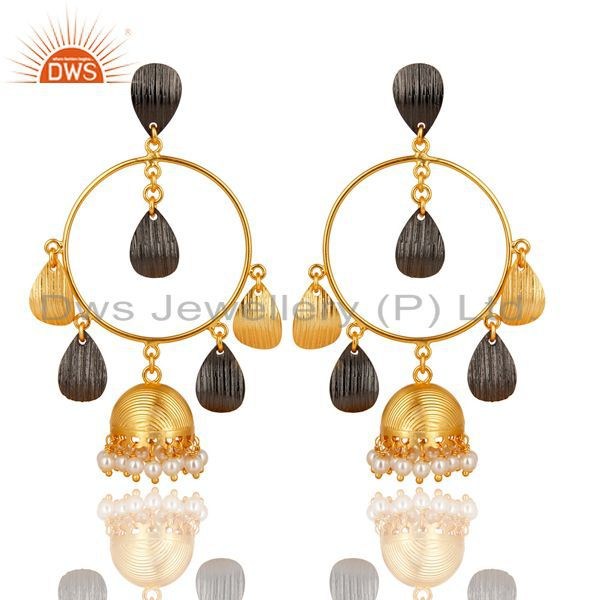 14K Yellow Gold Plated Traditional Handmade Round Pearl Jhumka Brass Earrings