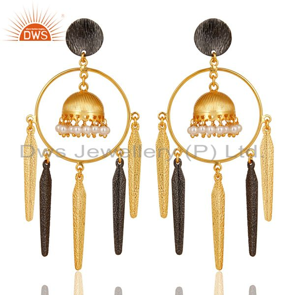 14K Yellow Gold Plated Traditional Handmade Pearl Beads Jhumka Brass Earrings