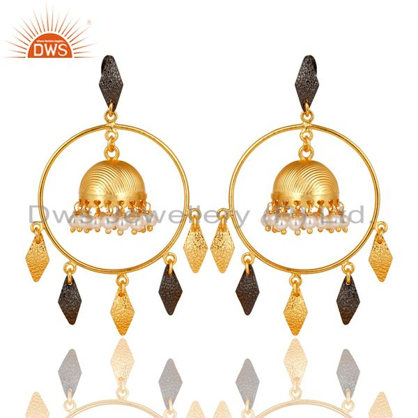 14K Yellow Gold Plated Traditional Handmade Round Pearl Beads Jhumka Earrings