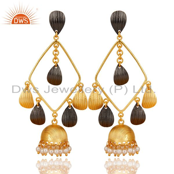 Traditional Handmade 14K Gold Plated & Black Oxidized Pearl Jhumka Brass Earring