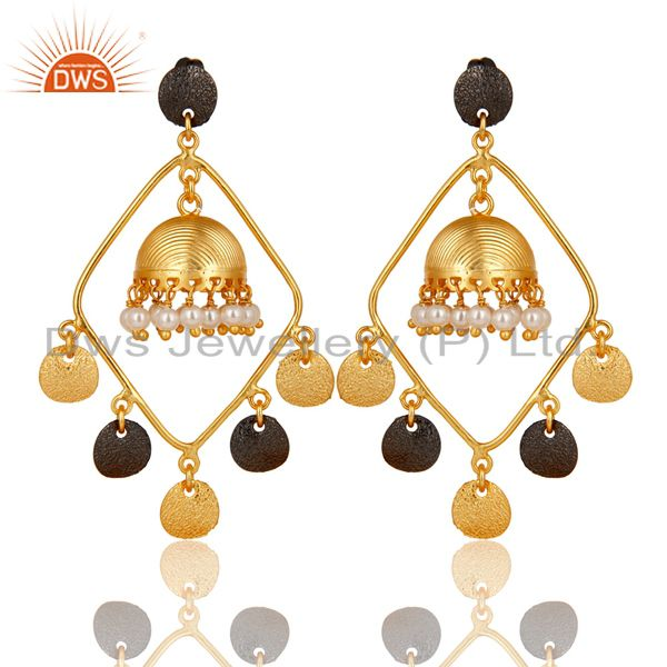 14K Gold Plated Traditional Handmade Pearl Round Beads Jhumka Brass Earrings