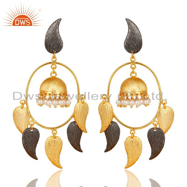 14K Gold Plated Traditional Handmade Round Pearl Beads Jhumka Earrings