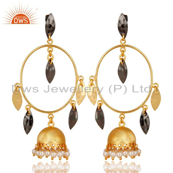 Traditional Handmade Pearl Beads Brass Earrings With 14K Yellow Gold Plated