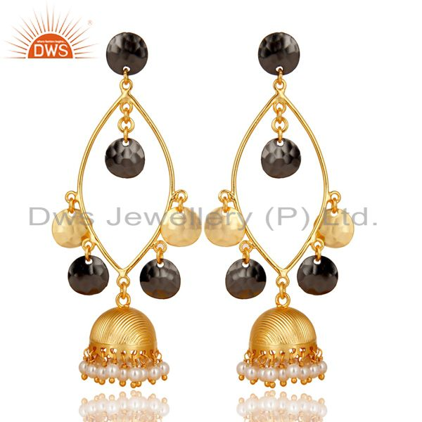 Traditional Handmade Pearl Beads Jhumka Brass Earrings Made In 14K Gold Plated