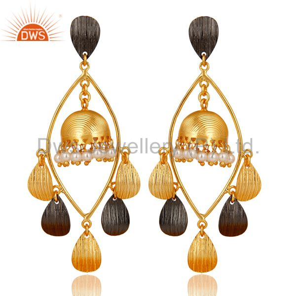 Traditional Handmade Round Pearl Jhumka Brass Earrings Made In 14K Gold Plated