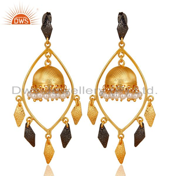 Traditional Handmade 14K Gold Plated & Oxidized Pearl Beads Jhumka Brass Earring