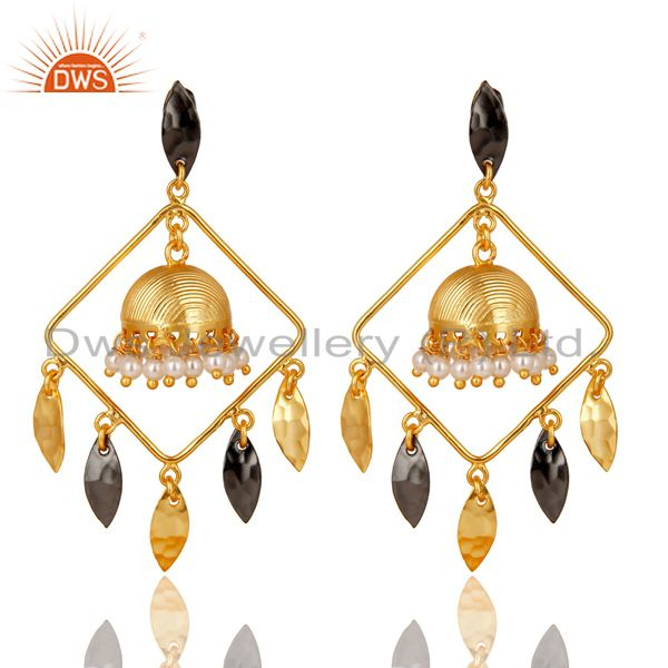 14K Gold Plated & Oxidized Traditional Handmade Pearl Beads Jhumka Brass Earring