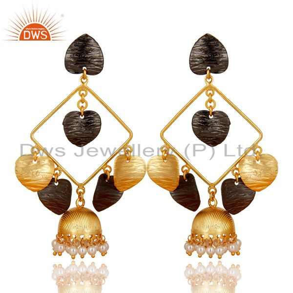 14K Yellow Gold Plated Traditional Handmade Pearl Round Jhumka Brass Earrings