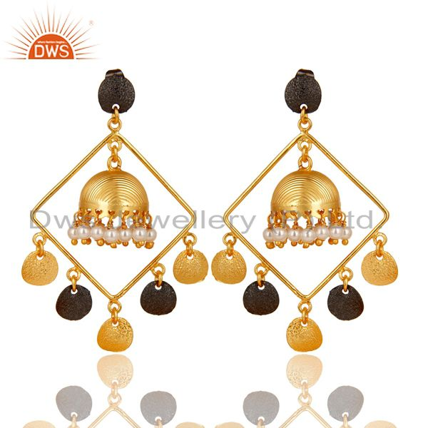 14K Gold Plated & Oxidized Traditional Handmade Pearl Round Jhumka Brass Earring