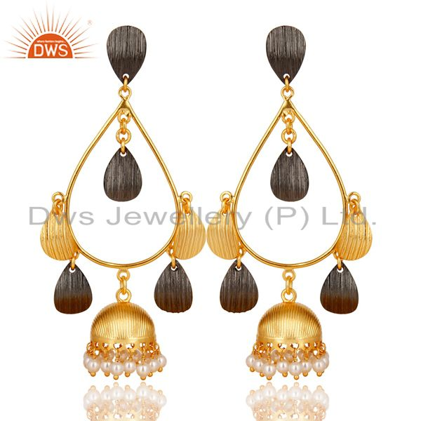 Natural Pearl Gemstone Brass Gold Plated Fashion Jhumka Earrings