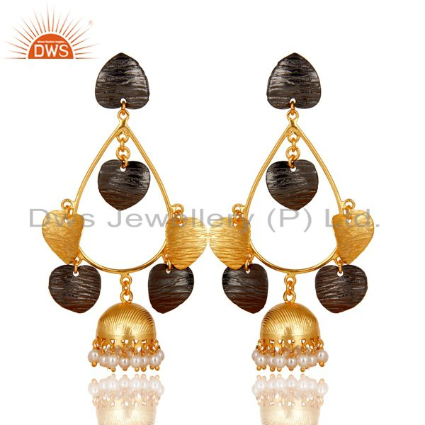 14K Yellow Gold Plated & Oxidized Traditional Pearl Beads Jhumka Brass Earrings
