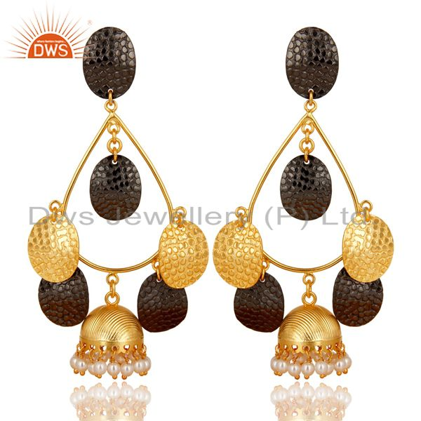 14K Gold Plated Traditional Handmade Round Pearl Beads Jhumka Brass Earrings