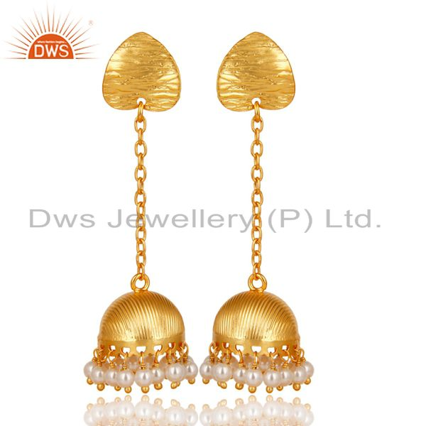 Gold Plated Traditional Handmade Round Pearl Beads Jhumka Brass Earrings