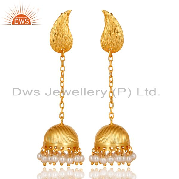 18K Gold Plated Traditional Handmade Pearl Beads Chain Jhumka Brass Earrings
