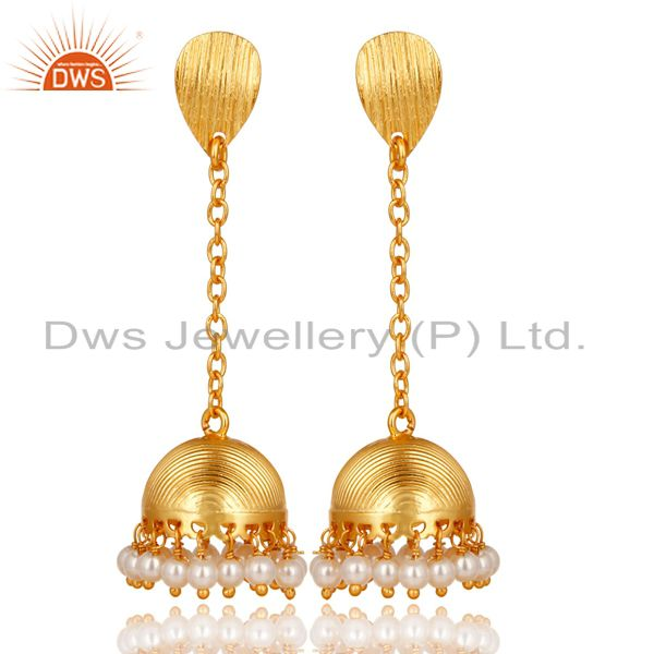 14K Gold Plated Traditional Round Pearl Beads Chain Jhumka Brass Earrings