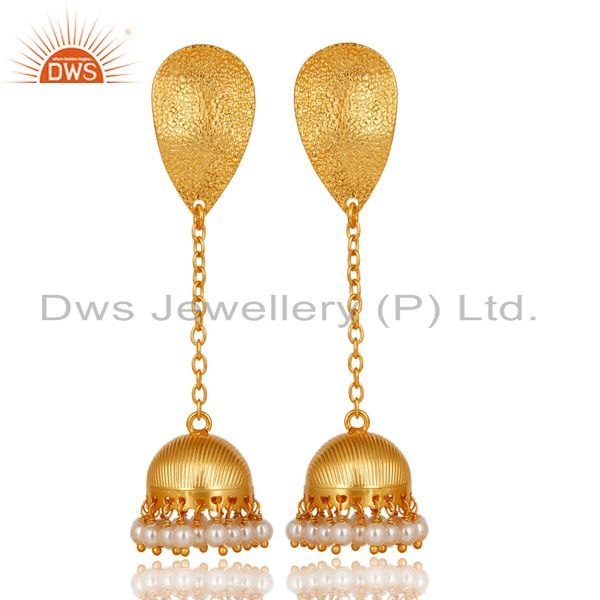14K Gold Plated Traditional Handmade Pearl Chain Jhumka Brass Earrings