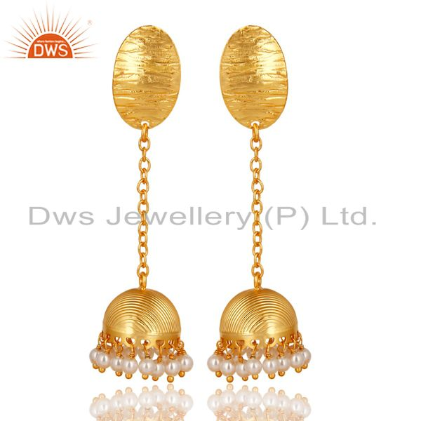 14K Gold Plated Traditional Handmade Round Pearl Chain Jhumka Brass Earrings