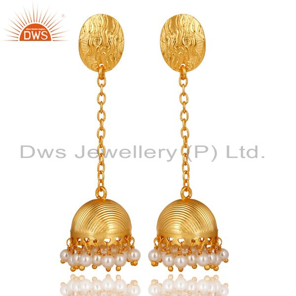 14K Yellow Gold Plated Handmade Round Pearl Beads Chain Jhumka Brass Earrings