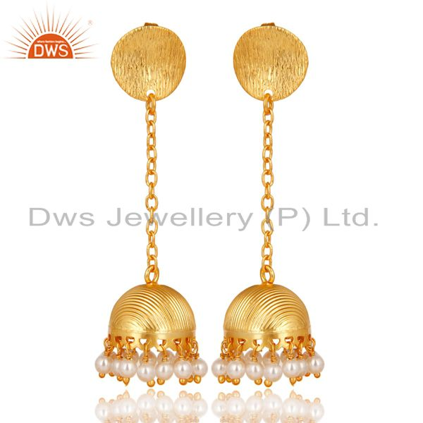 14K Yellow Gold Plated Traditional Pearl Beads Chain Jhumka Brass Earrings