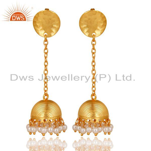 14K Yellow Gold Plated Handmade Pearl Beads Chain Jhumka Brass Earrings