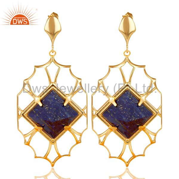 14K Yellow Gold Plated Handmade Lapis Pyramid Style Studs Brass Dangle Earrings