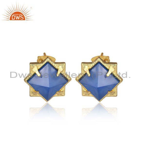 Pyramid Shape Blue Chalcedony Set Fancy Brass Gold Earrings