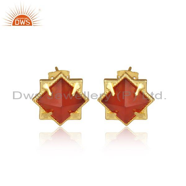 Pyramid Shape Red Carnelian Set Fancy Brass Gold Earrings