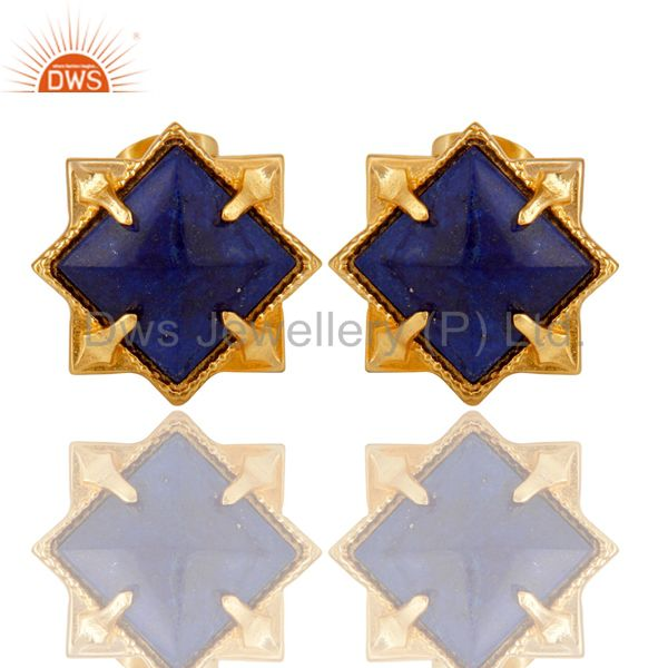 14K Yellow Gold Plated Handmade Lapis Pyramid Style Studs Brass Earrings