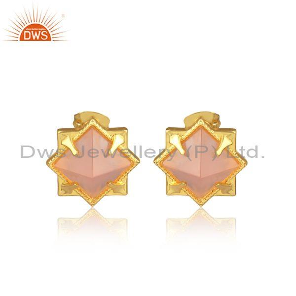 Rose Chalcedony Pyramid Set Brass Gold Statement Earrings