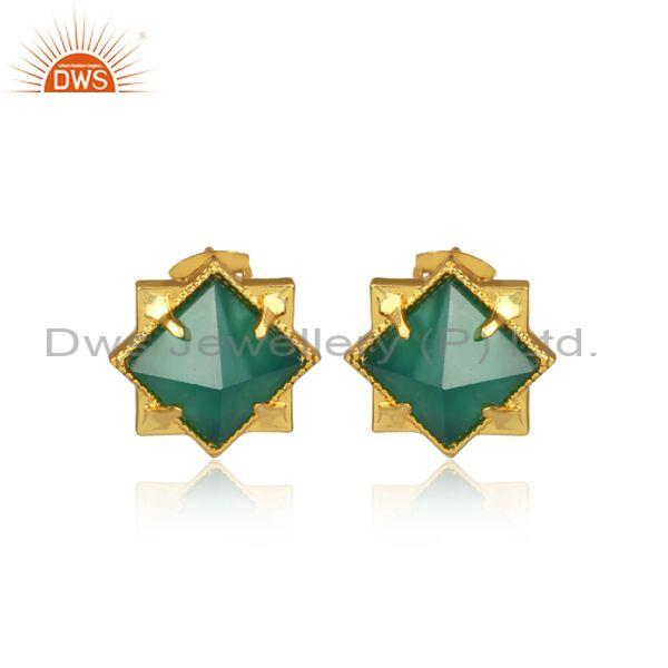 Pyramid Shape Green Onyx Set Brass Gold Statement Earrings