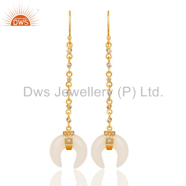 14K Yellow Gold Plated Handmade White Agate & White Zirconia Brass Earrings