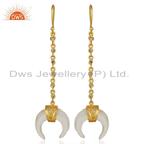 Crystal Quartz Crescent Moon 925 Sterling Silver 18k Gold Plated Dangle Earring
