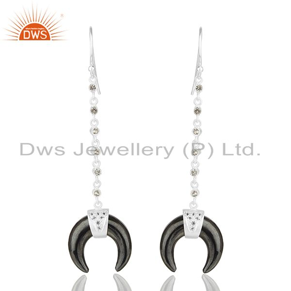 White Topaz With Hematite Crescent Moon 925 Sterling Silver Dangle Earring